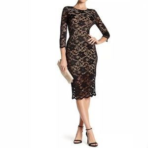 NWT ABS Collection Black Nude Lace Midi Dress Sz 8
